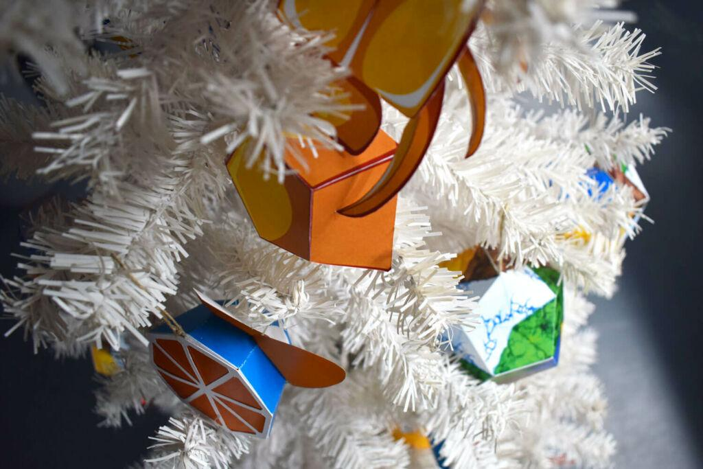 Paper Toys Blue Orange Christmas